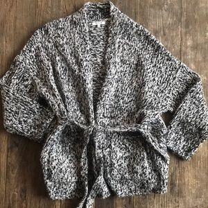Madewell Marled Knit Tie Cardigan Black White SM
